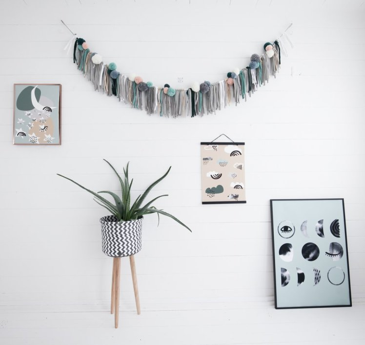 Ella and the Roo new collection dilly and the boo blog pom pom garland mint